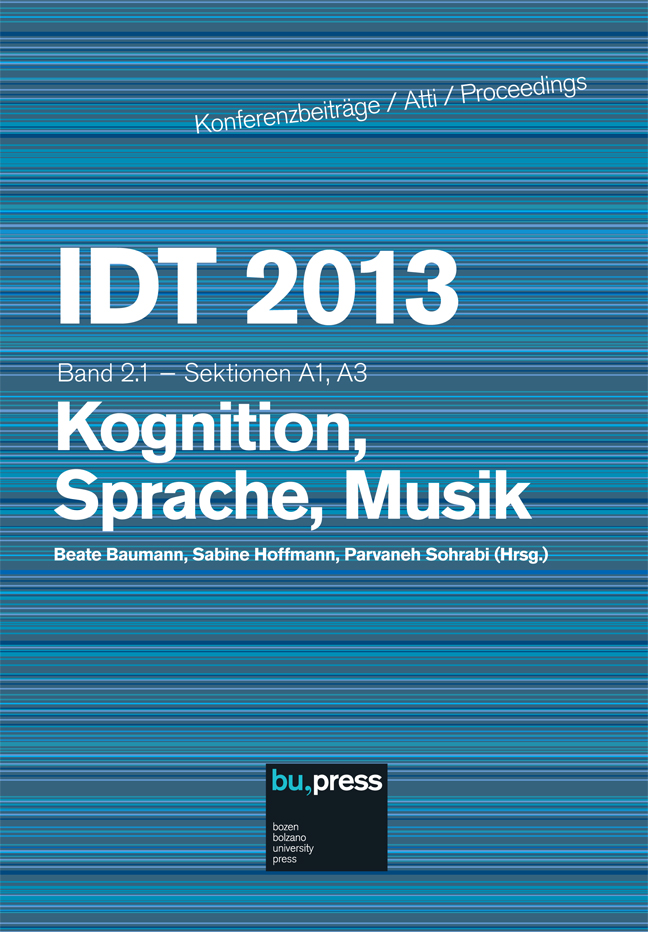 Cover of IDT 2013/2/1 Kognition, Sprache, Musik