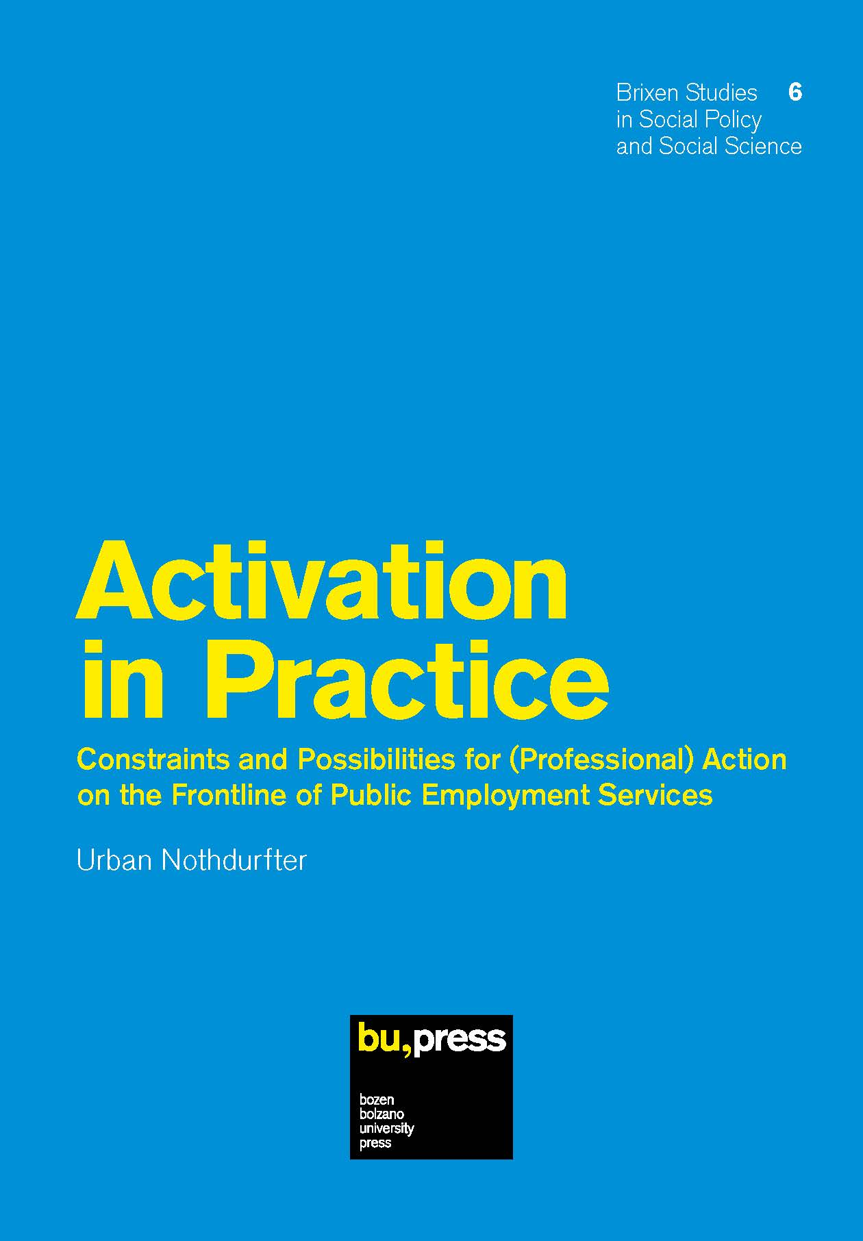 Cover of Activation in Practice - Constraints and Possibilities for (Professional) Action on the Frontline of Public Employment Services