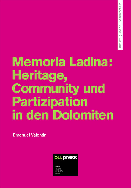 Cover of Memoria Ladina: Heritage, Community und Partizipation in den Dolomiten