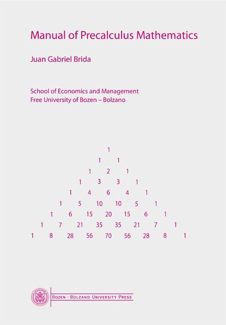 Cover of Manual of Precalculus Mathematics