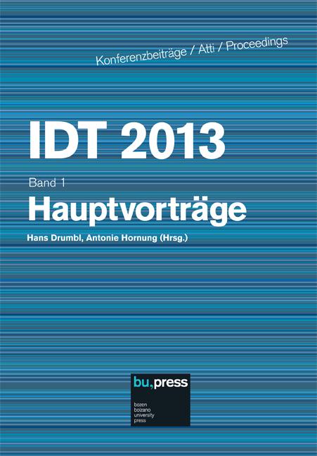 Cover of IDT 2013/1 Hauptvorträge