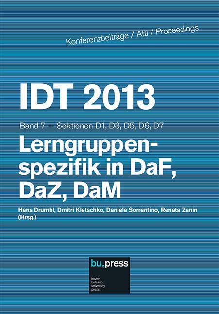 Cover of IDT 2013/7 Lerngruppenspezifik in DaF, DaZ, DaM