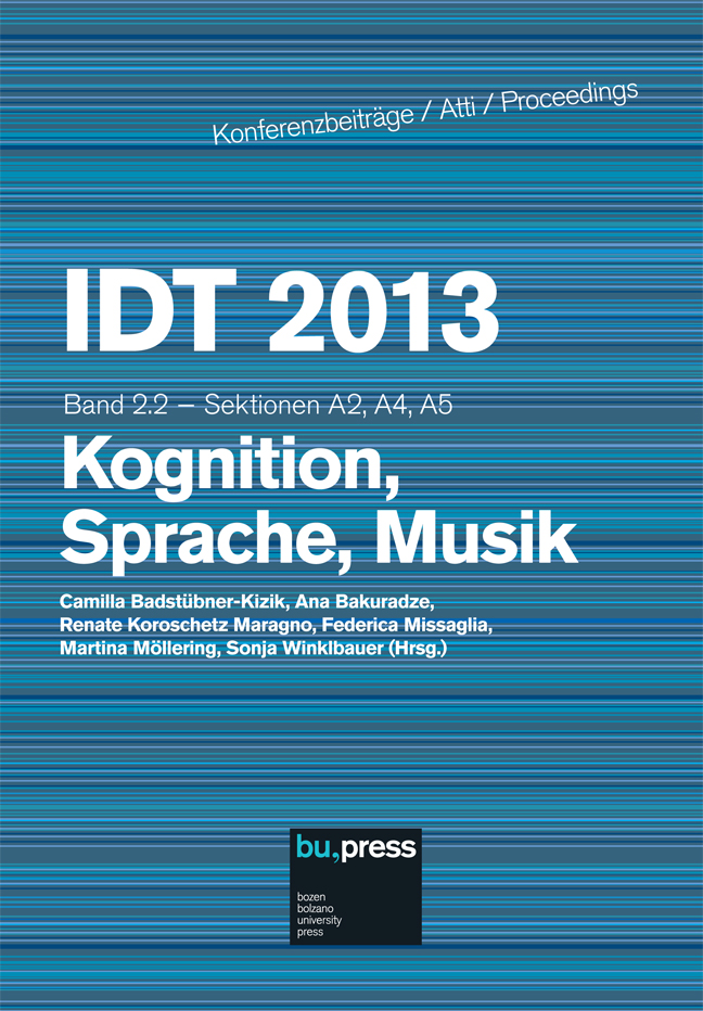 Cover of IDT 2013/2/2 Kognition, Sprache, Musik