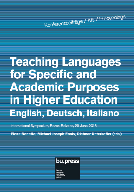 Cover of Teaching Languages for Specific and Academic Purposes in Higher Education – English, Deutsch, Italiano